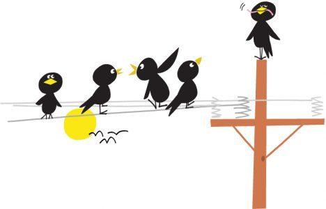 Illustration med fåglar på en elstolpe